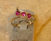 Triple Ruby - 10k Gold Ring with Ruby -(9)
