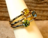 Three Seasons with Stackable Look- 10k Yellow Gold with Peridot,Golden Topaz and Blue Zircon