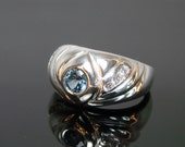 70% OFF Going Out of Business Sale.. Last One. Aquamarine Sea - Sterling Silver Ring - Size 7.5