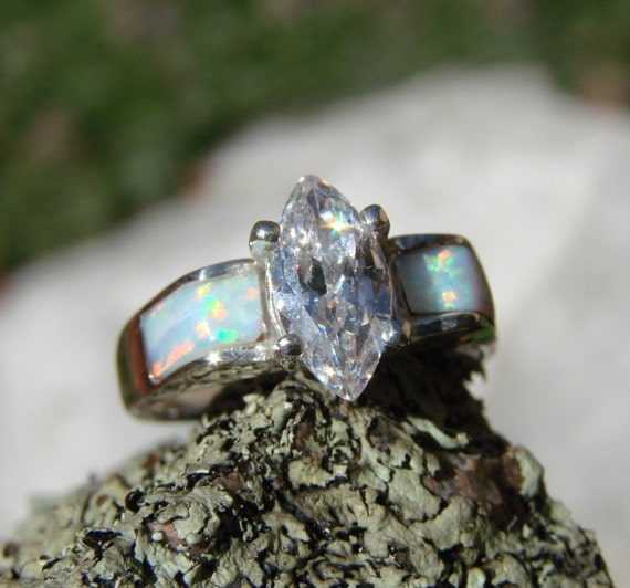 White Wedding - Opal Inlaid in Sterling Silver Ring with Signity Star Marquise - (34)