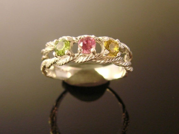 Rope Style Mothers and Grandmothers Rings Sterling Silver, you pick gems and size