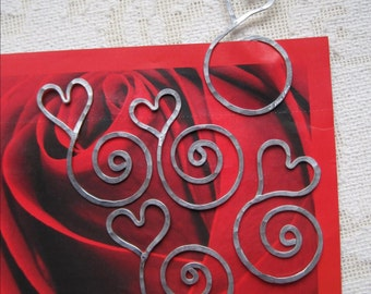 12 Heart Bookmark - Wholesale- aluminum - personalized - etched - spiral - swirl - book marker - unique gift - great St. Valentines gift