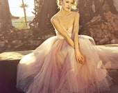 Blush Sweetheart Strapless Floor length Tulle Wedding Dress - Blushing in Pink by Ouma