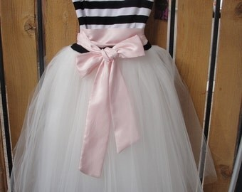 Black and White Striped Sweetheart Strapless Tea Length Cotton and Tulle Party Dress - Just Because I Love You by Cleo and Clementine