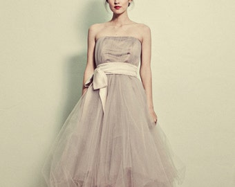 Strapless Tea Length Tulle Dress - Josie by Cleo and Clementine