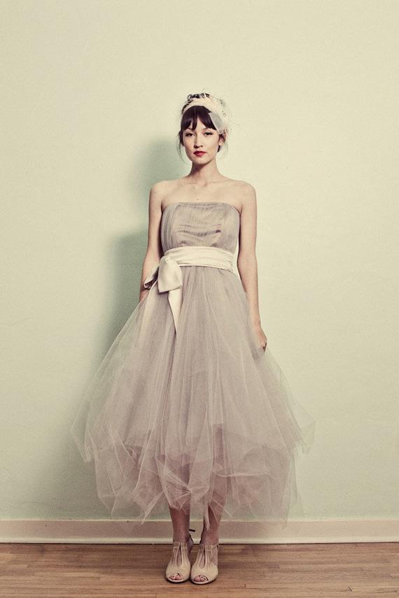 Items similar to strapless tea length tulle dress josie for Tea length tulle skirt wedding dress