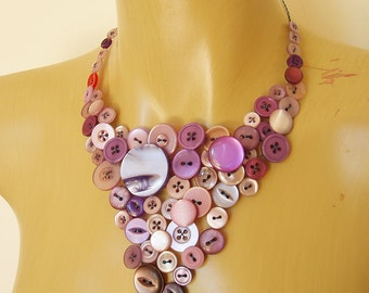 Button necklace - purple buttons statement necklace - ready to ship