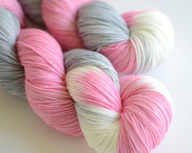 Snow Flower - Hand Dyed Sock Yarn - Superwash Merino Wool - Pink and Gray - Literary - Fingering Weight