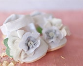 Shabby Chic White Silk Baby Girl Maryjane - Gracious May Ivory Lace Satin Infant Toddler Shoes