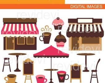 Cafe clipart / coffee shop clipart pink brown / Valentine's day clipart / Valentine clip art / coffe mug, table, chair clipart commercial