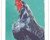 "LETTERPRESSED Mattie the Hen Block Print 11"" x 14"""