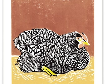 Olive the Hen Block Print Reproduction
