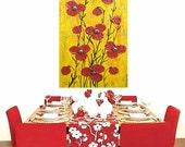 "Yellow Revelation... original painting, collage, 15,7""x31,5"", 40 x 80 cm, acrylic colours, canvas, silk paper, glass, flower, fantasy"
