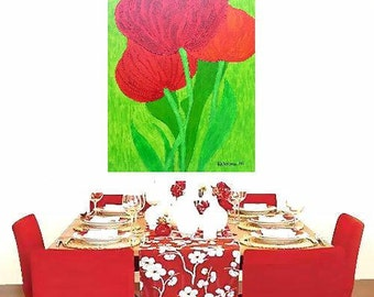 """Tulips... original painting, 23.6x15.7"""" inches, 40x60 cm, acrylics, wood, flower, plant, fauna, traditional, fantasy"""
