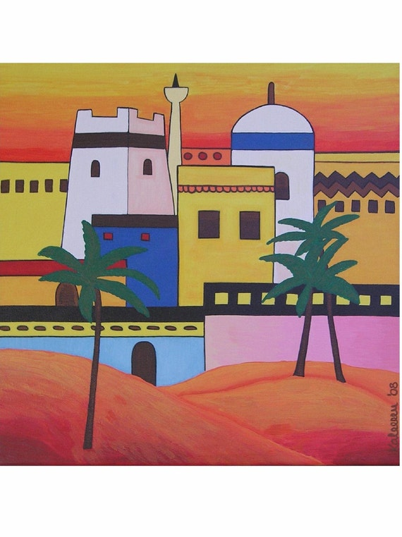 "Arab Town... original painting, 15.7x15.7"", 40x40 cm, acrylics, canvas, oriental, town, village, culture, tradition, tribal, fantasy"