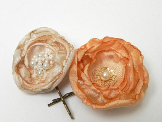 Bridal Flower Pins for your Hair - Vintage Gold Champagne Ivory White - SALE -
