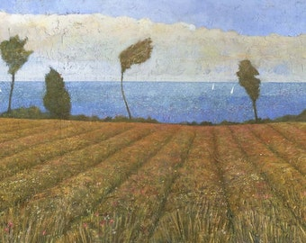 Cornish Seaside Meadow - Original  Landscape Painting