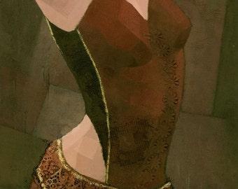 The Dancer -  Female Figure Original Mixed Media Painting