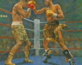 Original Boxing Painting - Prince Naseem Hamed .V. Augie Sanchez