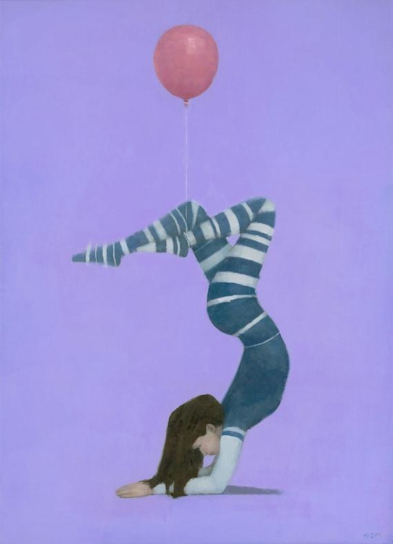 The Pink Balloon II  - Original Female Figure Oil Painting