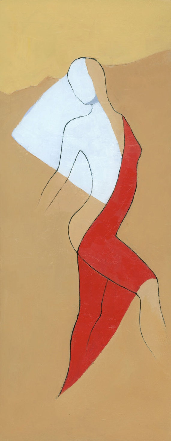 The Red Dress, Original Abstract Figure Painting