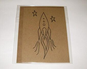 Gocco-Printed Rocket Card - Set of 5 - Craft Brown