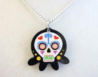 Day of the Dead Sugar Skull Dia De Los Muetros Octopus Pendant