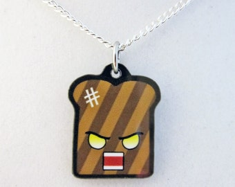 Kawaii Angry Burnt Toast Pendant