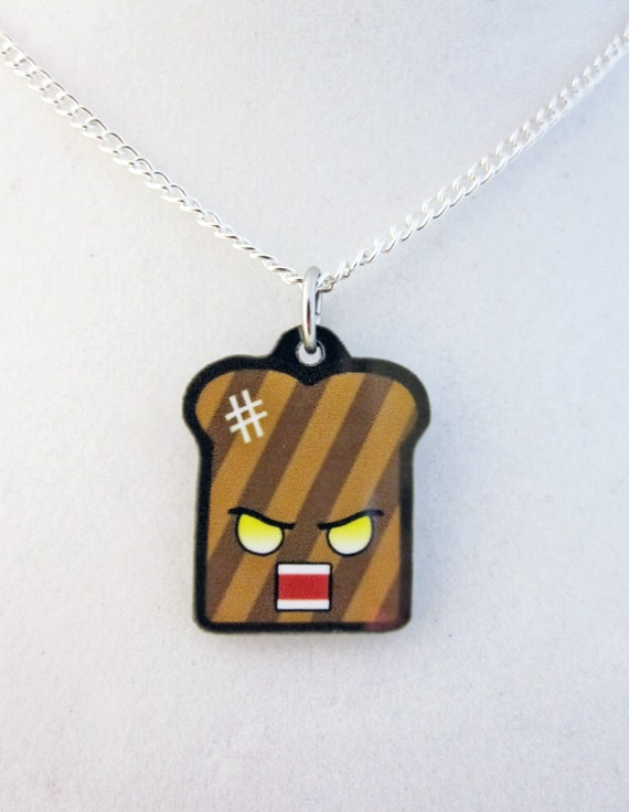 Kawaii Angry Burnt Toast Pendant