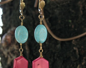Turquoise and Bamboo Coral Earrings Land and Sea by Me