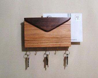 Mail And Key Holder Made Of Walnut And Oak Woods