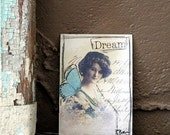 Dream Girl with Blue Wings Collaged ACEO Vintage Image & Handwritten Paper