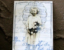 Sepia Girl Holding Flowers Collaged ACEO Vintage Image & Handwritten Paper