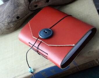 Small Orange Handbound Leather Journal Book Tag Edge