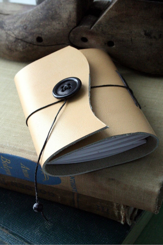 Small Handbound Leather Journal Book- Tan Curved Upcycled
