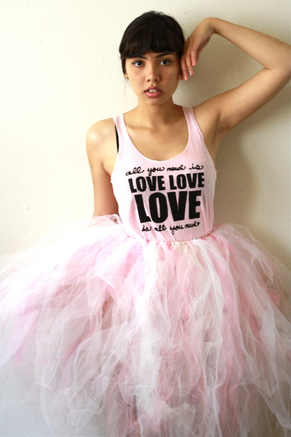 SALE All You Need Is Love. SMALL Racerback Tank in Pink