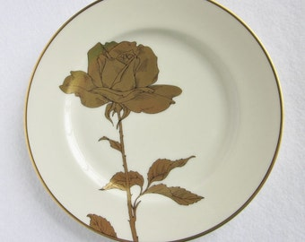 Vintage Fitz and Floyd Golden Rose Salad Plates, Golden Anniversary Plate, Gold and Ivory Plate, Decorative Rose Plate
