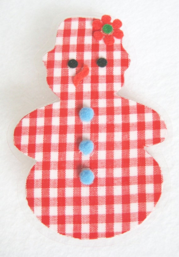 Snowman Christmas Brooch, Gingham Snowman Pin, Fabric Snowman Pin, Gingham Holiday, Red and White Christmas