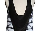 Sale - Silk racer back tank top with shibori pattern