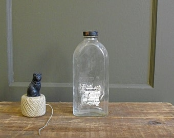 Vintage Bottle : Wavy Glass Apothecary Bottle with Label and Cap