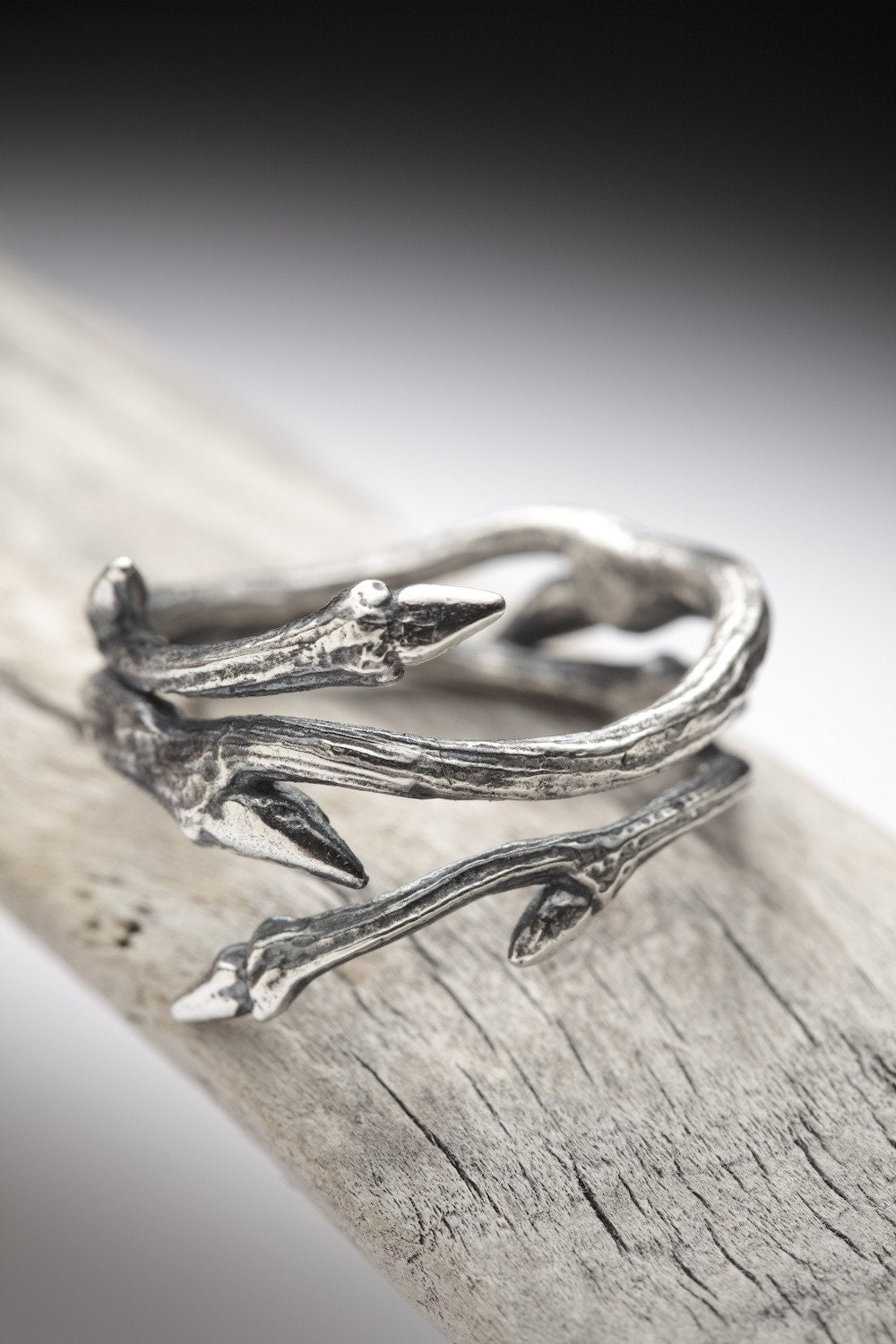 Elvish Twine Stacking Ring Dark Sterling Silver Twig Ring