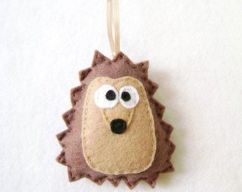 Hedgehog Ornament, Christmas Ornament, Herb the Brown Hedgehog - Made to Order, Woodland Animal, Felt Animal, Forest
