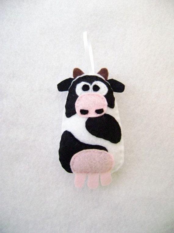 Cow Ornament, Christmas Ornament, Felt Ornament, Ginger the Cow - Made to order, Felt Animals, Stocking Stuffer, Farm Animal Ornament