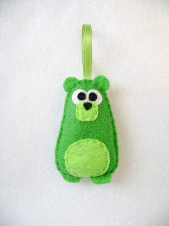 Bear Ornament, Christmas Ornament, Clayborne the Green Bear - Made to Order, Woodland Animals, Christmas Decoration, Gift Topper