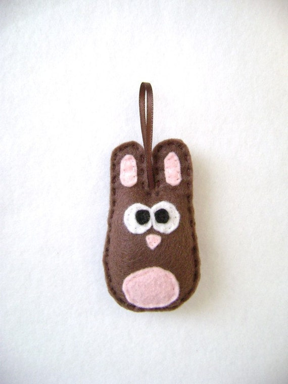 Rabbit Ornament, Baby Bunny, Nelly the Brown Baby Bunny - Made to Order, Christmas Ornament, Easter, Baby Shower