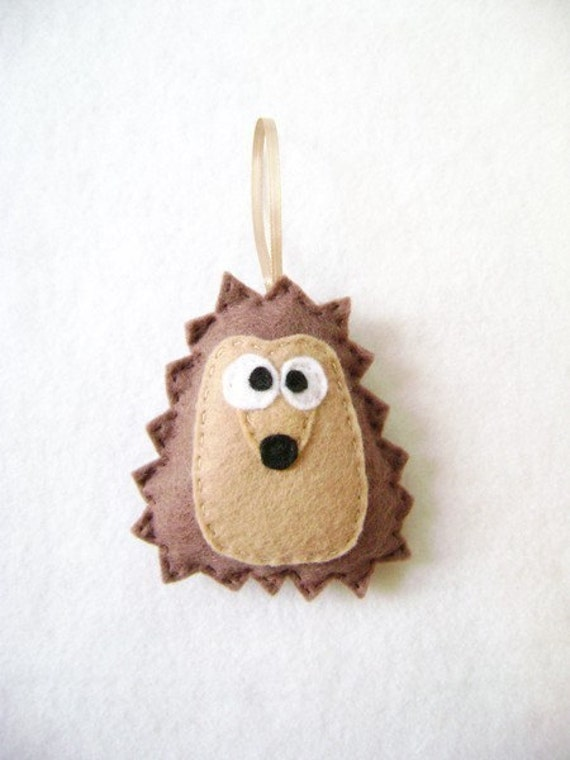 Hedgehog Ornament, Christmas Ornament, Herb the Brown Hedgehog, Woodland Animal, Felt Animal, Forest