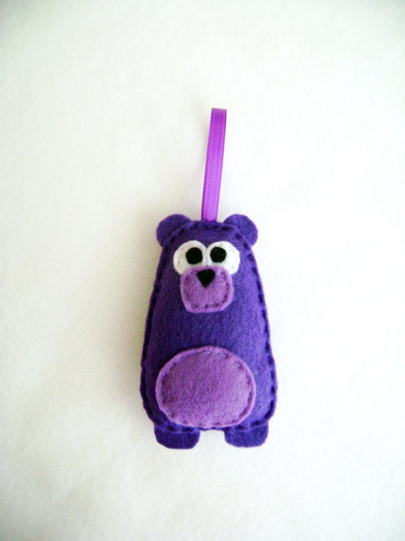 Bear Ornament, Lily the Purple Bear - Made to Order, Forest Animal Decoration, Felt Ornament, Christmas Ornament