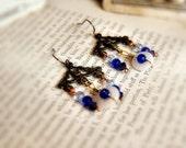 Sale - Button Earrings - Blue China Earrings - Chandelier Earrings - Faded Lilies