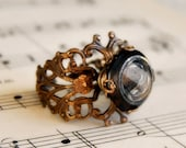 Sale - Button Ring - Waistcoat Buttons - Antique Button Jewelry - Brass Filigree Ring - Steampunk Ring - Liquid Reflections Adjustable