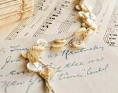 "Antique Button Bracelet Anklet Crochet Linen Mother of Pearl 8.5"""